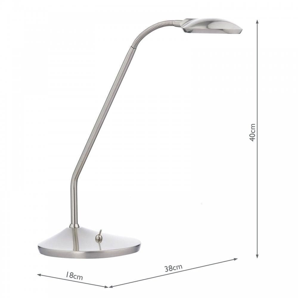 Dar Lighting WEL4046 Lampe de bureau à DEL à une lampe réglable et réglable, chrome satiné