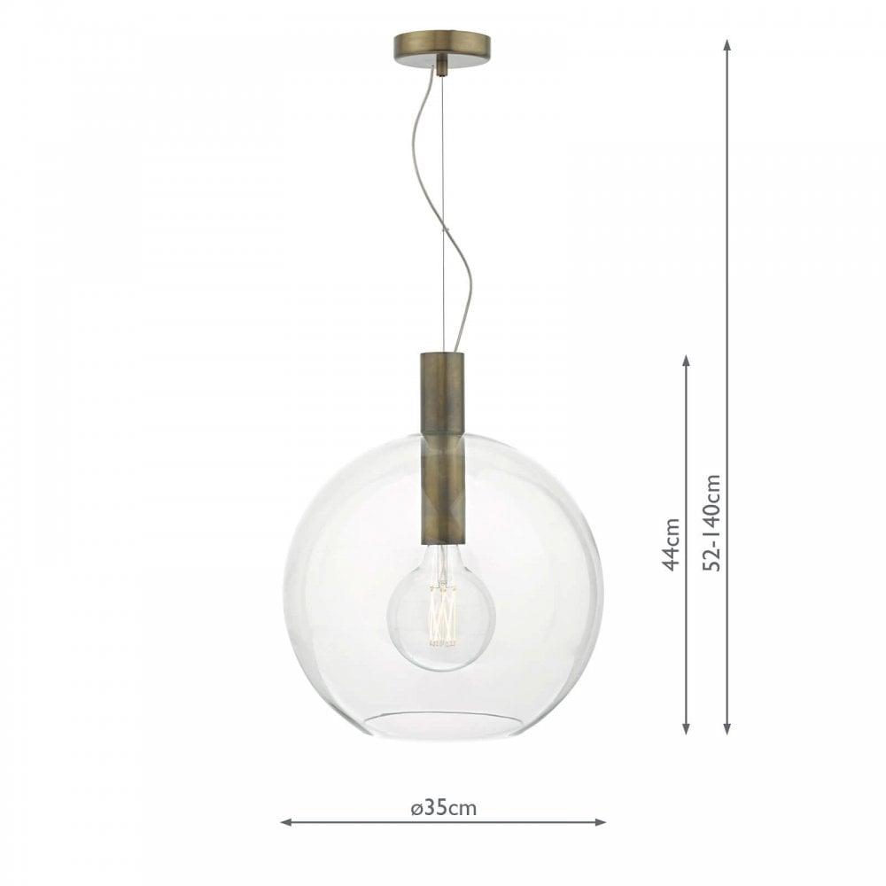 Dar Lighting ZUL0163 Luminaire de plafond Zula à une ampoule au fini bronze moucheté avec verre