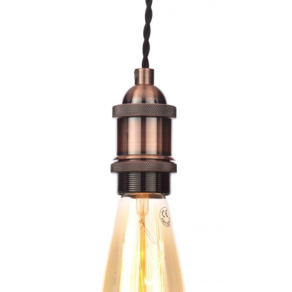 Forum Lighting Suspension Dale Single Light en cuivre antique avec câble torsadé noir